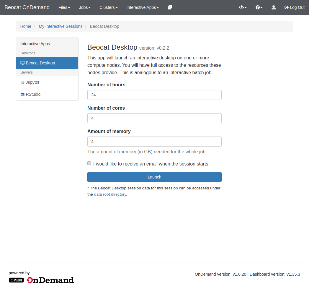 Screenshot of the options to launch a graphical desktop through OpenOnDemand